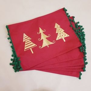 NWT Christmas Tree Red & Gold Placemats, Set of 6